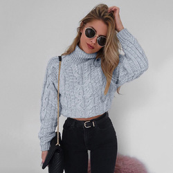Danjeaner 2018 Retro Twisted Turtleneck Sweater Autumn Winter Women Plus Size Thick Long Sleeve Short Pullovers Solid Slim Coats 1