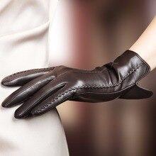 High Quality Elegant Women Genuine Lambskin Leather Gloves Autumn And Winter Thermal Plus Velvet Hot Trendy Female Glove 085
