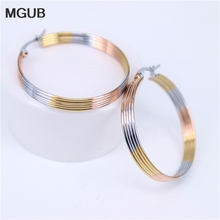 MGUB 35mm 3 colors many Floor line 316L stainless steel female earring fashion prom commemorate gift accessories LH453