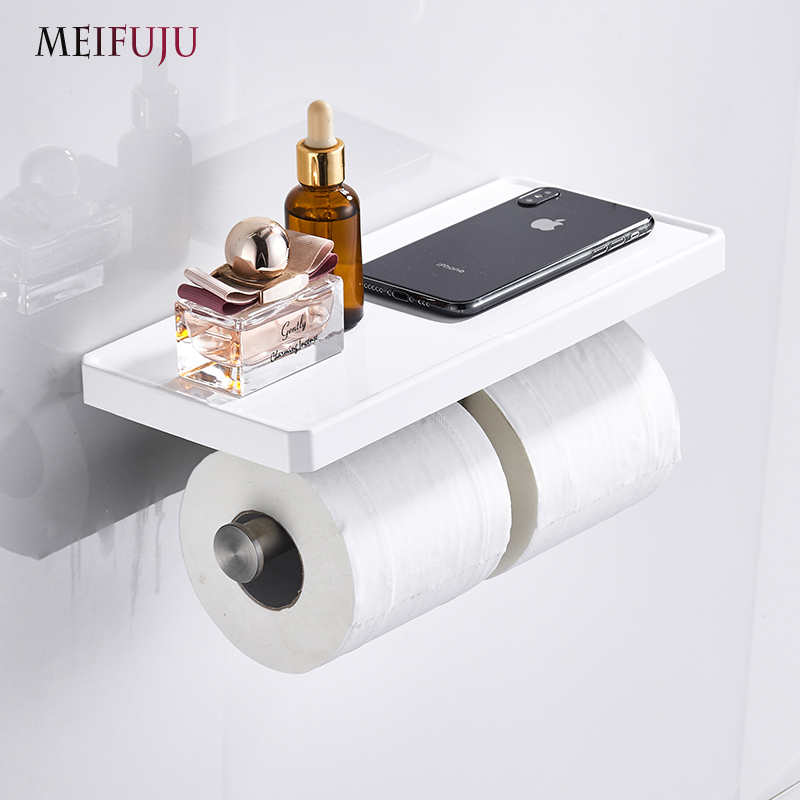 Bathroom Toilet Paper Holder Stainless Steel SUS 304 Wall Mounted Double Layer Roll Paper Rack Mobile Phone Paper Towel Holder
