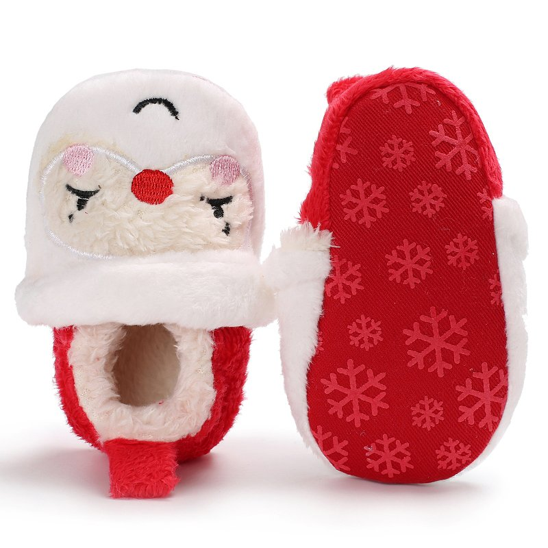 Toddler Infant Newborn Christmas Santa Claus Soft Sole Baby Girl Boy First Walkers Prewalkers Shoes For Christmas Party
