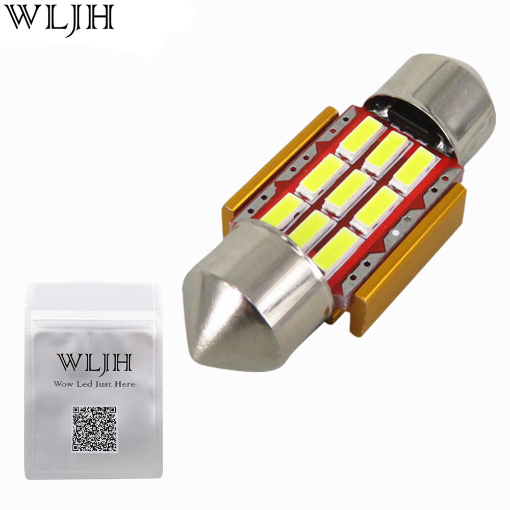 WLJH 1x 31mm Festoon Led For Samsung Chip 4014 SMD Car Interior Light Registration Number Lamp Auto Lighting Bulb White Canbus 2pcs 12v 31mm 36mm 39mm 41mm canbus led auto festoon light error free interior doom lamp car styling for volvo bmw audi benz