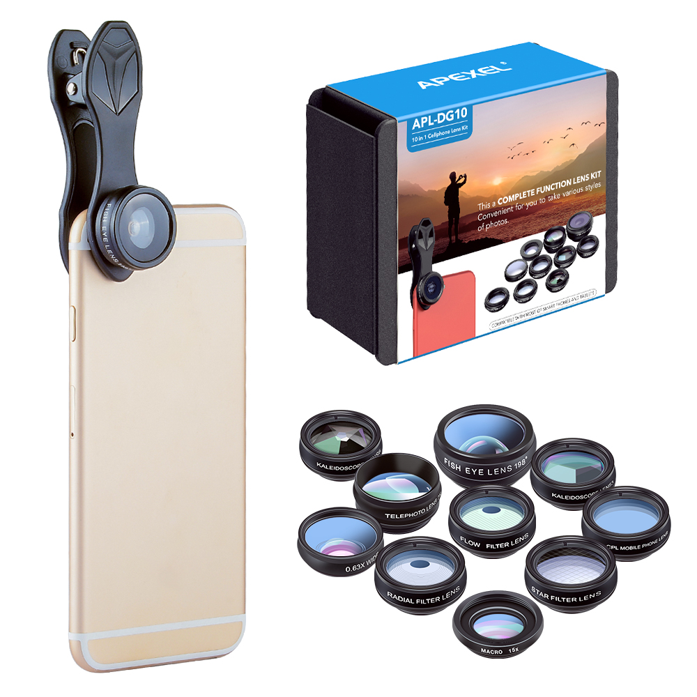 APEXEL 10in1 Phone Lens Kit Fisheye Wide Angle macro Lens 2X telescope camera Lens for iphone xiaomi redmi mi samsung smartphone