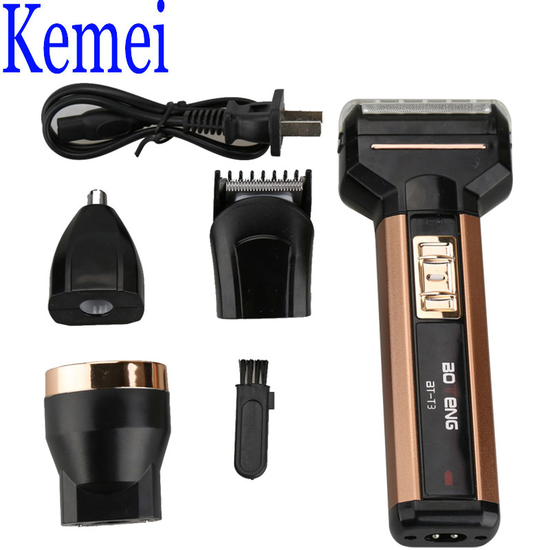 Kemei KM-T3 4in1 Professional Razor Set Including Electric Shaver Hair Clipper Nose Trimmer Light Personal Care Tool for Outdoor