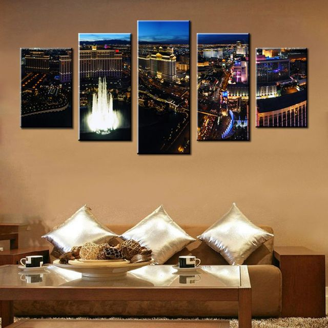 Las Vegas At Night Picture Painting 5 Panels Wall Decor Art Print On Canvas  For Home