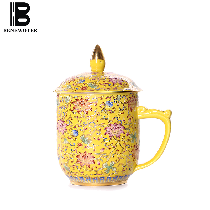 300cc Chinese Style Hand Painted Enamel Tea Mug Drinkware Office Master Water Cup with Lid Kit Ceramic Porcelain Milk Cup Gifts