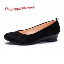 Женщины Черные Ботинки Женщин Балетки Клинья Обувь для Весна Осень Обувь Негабаритных Лодка Обувь Ткани Клинья Сладкие Бездельников дышащий