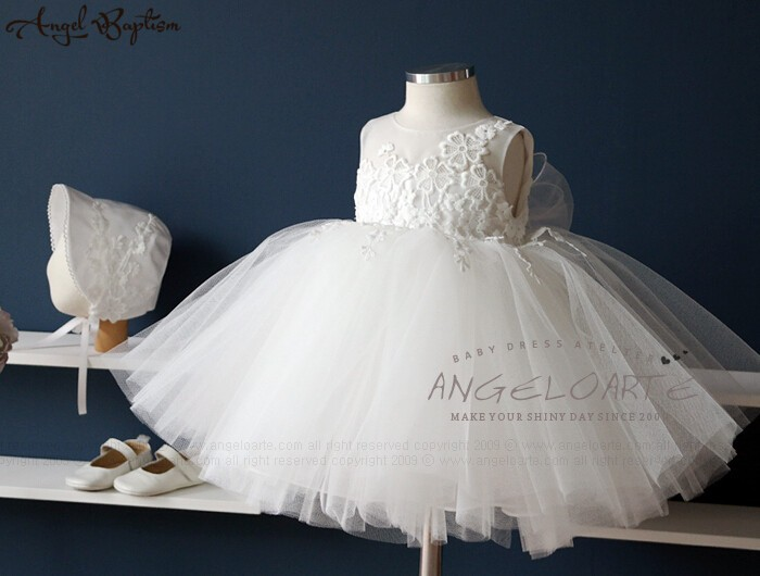 Christening or Baptism Dress Pure Elegance White Lace Flower Girl Dress