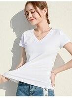 T shirt woman short sleeve slim v neck Korean version of summer dress new pure black student shirt half sleeve T shirt woman