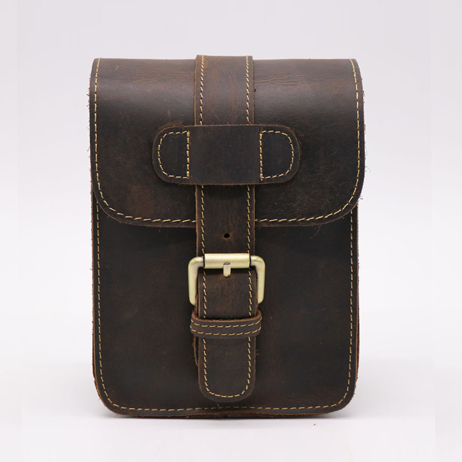 Brand Cool Casual 7 Cell/Mobile Phone Wallet Punch Case Bag Mens Cow Leather Belt Cross Waist Pack Hip&Bum Fanny Bags