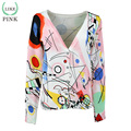 LIKEPINK 2016 Mujeres del Otoño Patrón de La Geometría Abstracta Mujer Suéter de Punto Suéter Cardigans Manche Longue Femme Gilet Poncho
