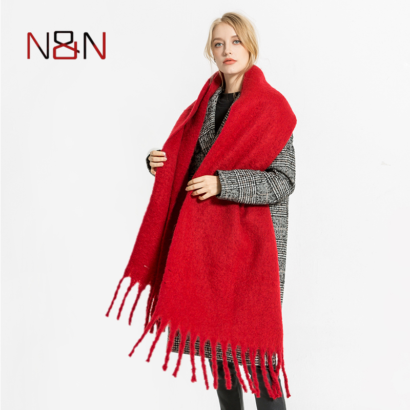 NN Winter Warm Cashmere   Scarf   Women Big Size Blanket Solid Ladies Knitted Comfortable Shawls and   Scarves     Wraps   Fashion NN-CS-059