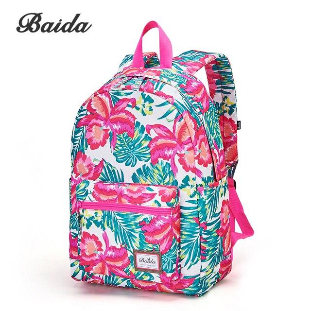 ac91a50b11 BAIDA Fashionable Red Floral Print Backpack Flower Pattern Women Rusacks  School Laptop Bookbag Bags for Teenage