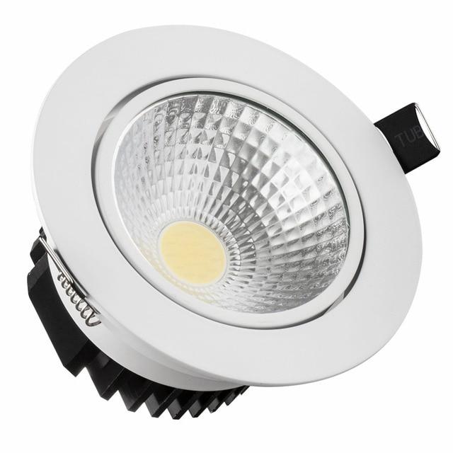 LED COB Chip Ceiling Light LED Spotlight 7W 9W 12W 15W 18W Round Aluminum Recessed Warm/Cold White LED Down-light AC85~265V