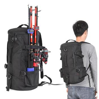23L Large Capacity Fishing Tackle Backpack Outdoor Fishing Tool Carry Pouch Multifunction Fishing Lure Bag Rod Holder