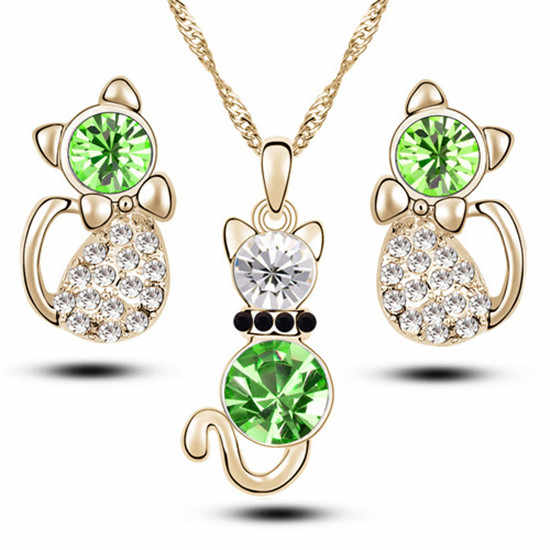 H:HYDE Fashion Girl Lovely Jewelry Sets Gold Color Kitten Shape Austrian Crystal Necklace Earrings Fine Jewelry