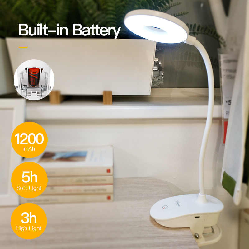 YAGE LED Touch On/off Switch 3 Modes Clip Desk Lamp 7000K 18650 Rechargeable USB Eye Protection Reading Dimmer Led Table Lamps