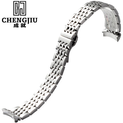 19mm Watch Strap For Tissot For Lelocle1853 For T41 Deployment Clasp Watches Band Brushed Steel Bracelet