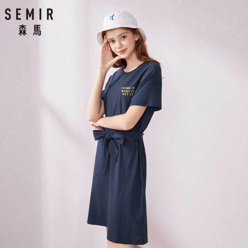 SEMIR платье 2019 Популярные летние женские свободные спортивные талии с круглым вырезом узкое плиссированное платье Sen женское