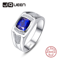 JUQEEN Vintage Sapphire Stone White CZ Rings Pure S925 Silver Men's Ring Engagement Wedding Male Fine Jewelry 8/9/10/11/12/13