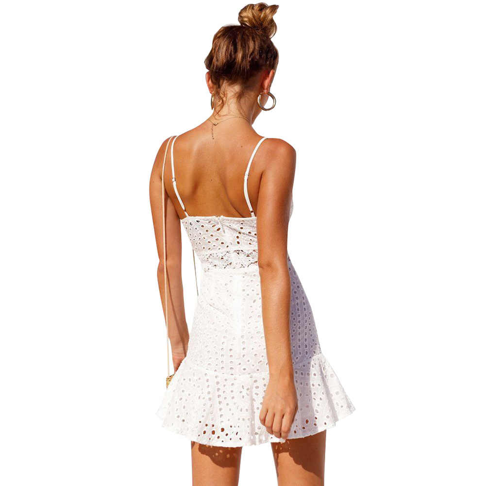 b78257b792ce9 Sexy Women Crochet Lace Dress Hollow Out Mini Dress Spaghetti V Neck  Sleeveless Flared Ladies Dress casual summer strap dress