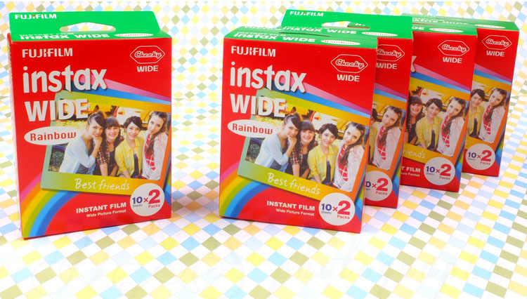 Oryginalne Fujifilm Instax Wide Film Rainbow 60 arkuszy papier fotograficzny do Fuji Instant aparat polaroid 300/200/210/100/500AF