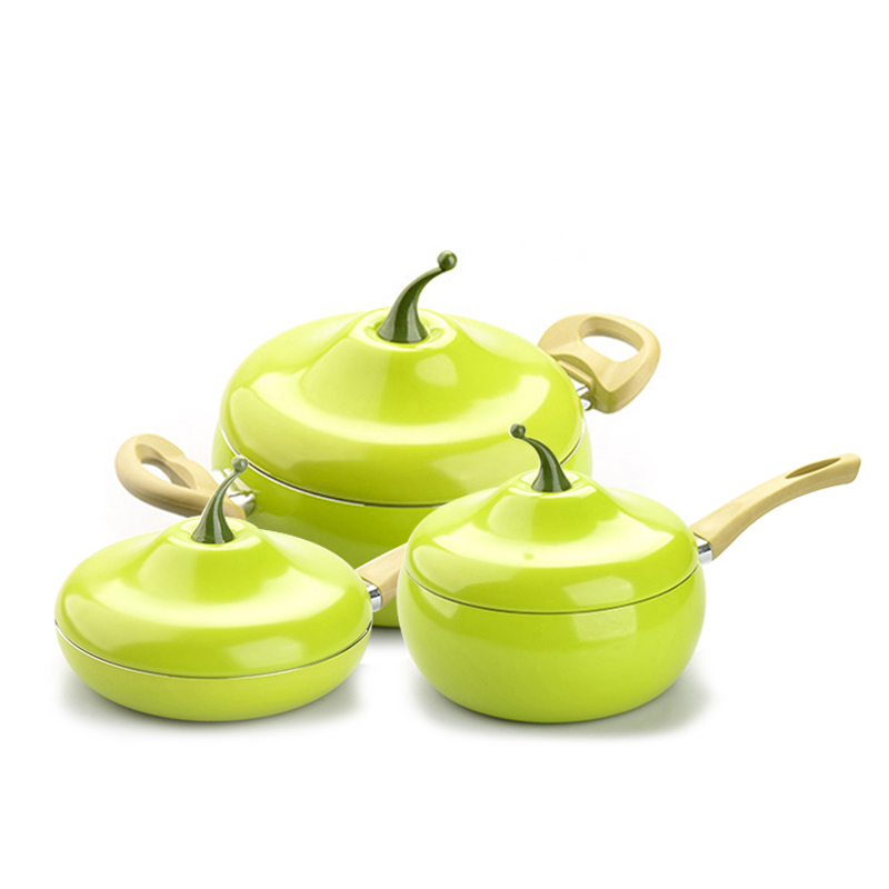 Ceramic Coating Fruit Induction Gas Frying Pan 3
