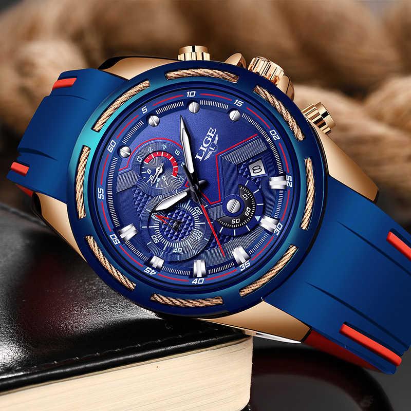 LIGE Yeni Erkekler Saatler Üst Marka Lüks Silikon Kayış Su Geçirmez Saatler Spor Chronograph Kuvars kol saati Relogio Masculino