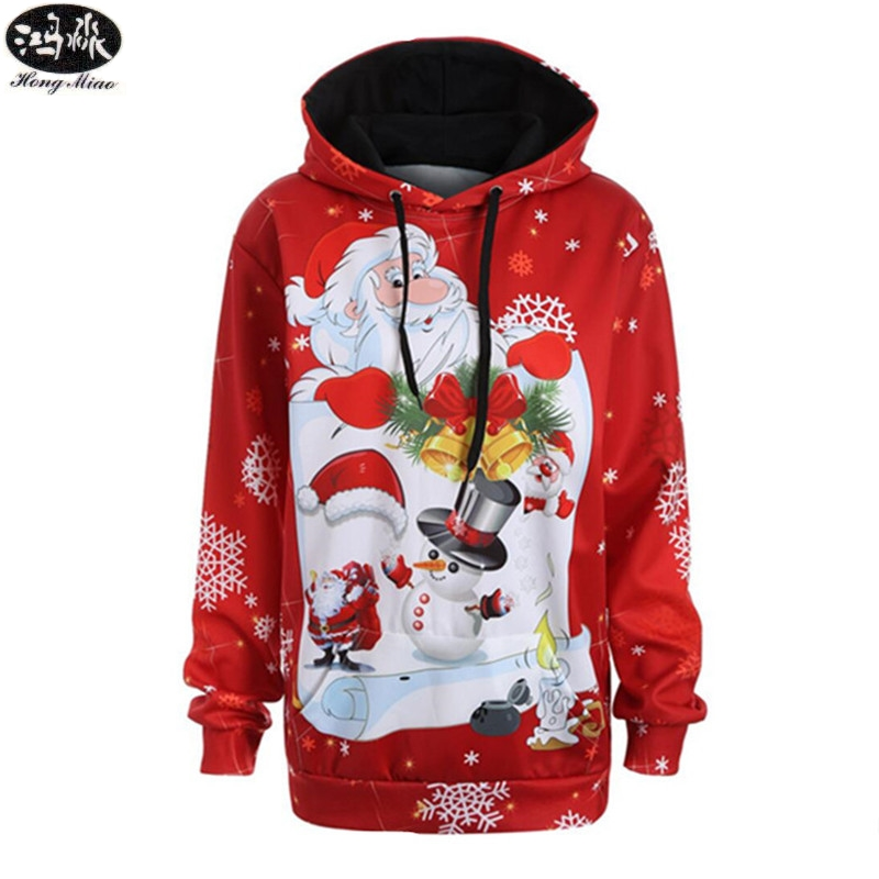 Christmas Couple Hoodies New Year Santa Claus Red Digital Printing With Loose Large Size Man/women Sweatshirts Top