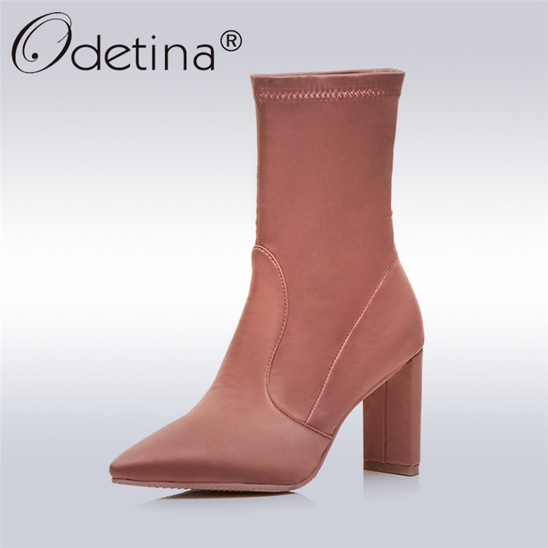 Odetina 2017 New Pointed Toe Ankle Boots Women High Heel Boots Block Heel Slip on Short Boots Ladies Fashion Shoes Plus Size 43 odetina 2017 new women pointed metal toe loafers women ballerina flats black ladies slip on flats plus size spring casual shoes
