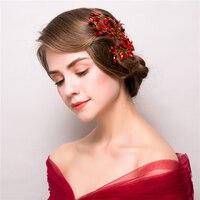 Red Rhinestone Plant Design Headband Hair Accessories Fashion Women Party Headdress Hairwear Wedding Bridal Headpiece Ornaments