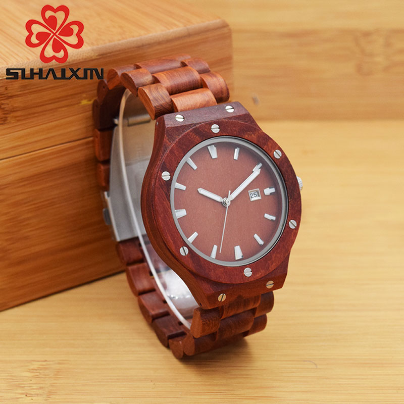 SIHAIXIN B54WG Maple Red Sandalwood Wooden Watches For Men Three-tone Male Vintage Calendar Quartz Luminous Hands Watch For Gift цена и фото