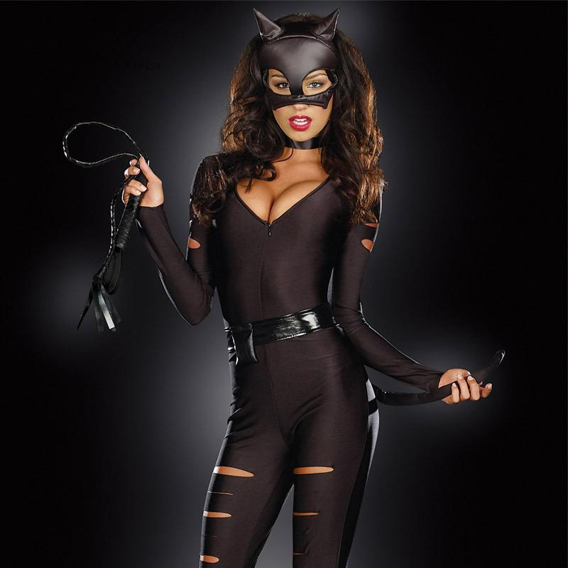 Black Women Ladies Night Club Party Leather Thief Cosplay -6205