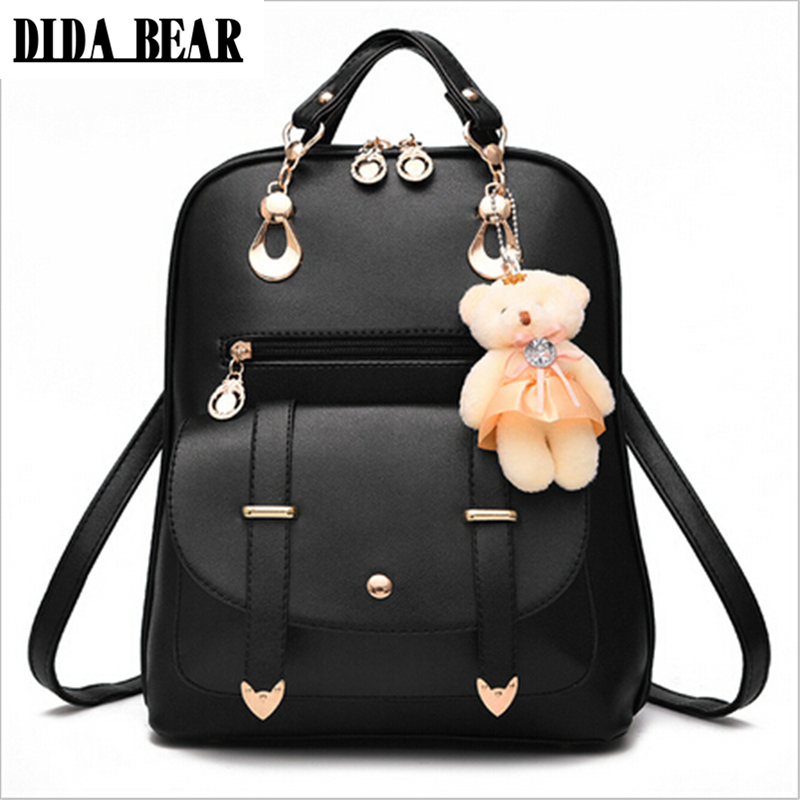DIDA BEAR 2017 Women Backpack New Students Backpack Teenagers Girls Korean Style Backpacks With Bear High