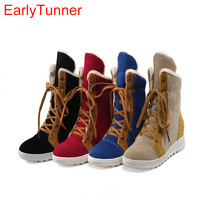 Brand New Sales Winter Black Red Women Ankle Snow Boots Tan Fashion Lady Wedge Shoes EHA69 Plus Big size 43 10