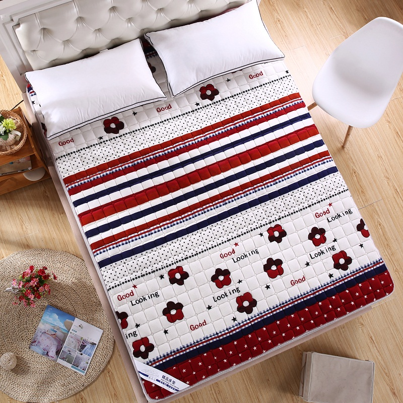 Washable Winter Bed Mattress Cover Towel Fleece Soft Folding Bedspread Quiltiing Printing Air-Permeable Home Bedding Sheet Pad