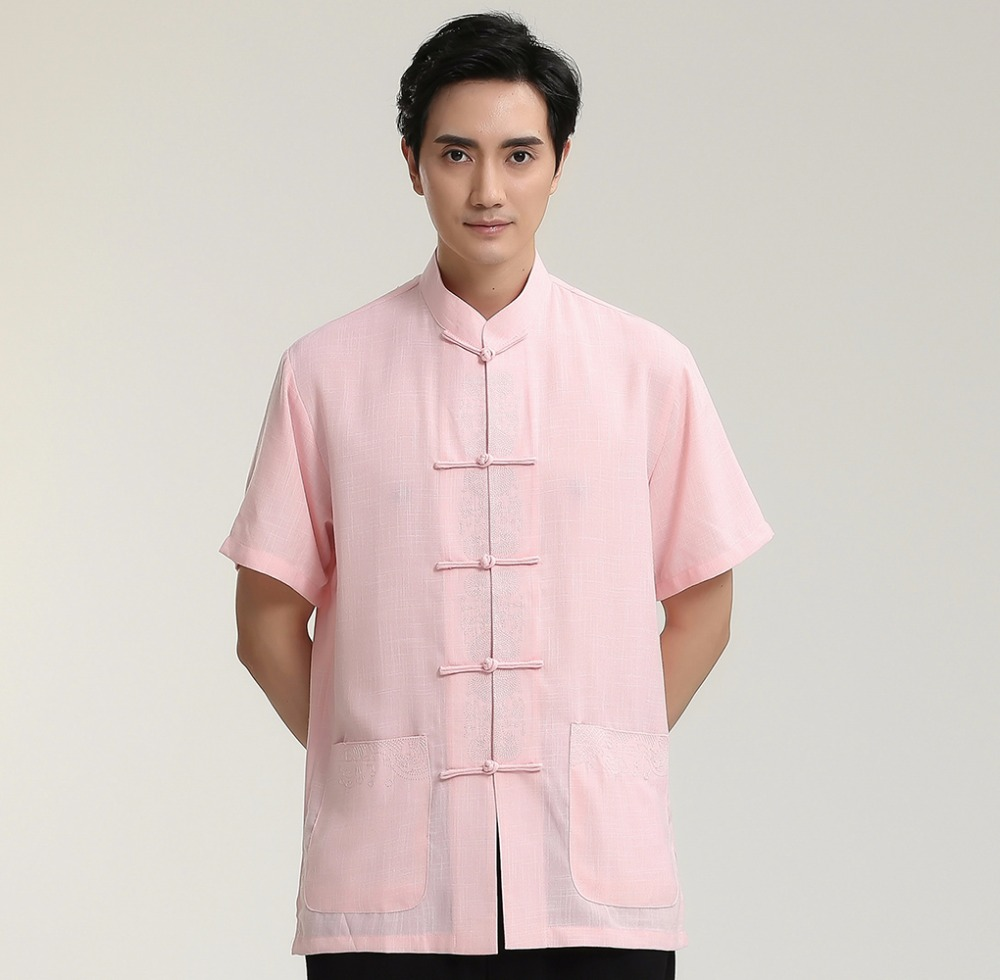 2018 New Chinese Tai Chi Solid Pink Single Breasted Man Short Sleeve Casual Shirts Cotton Linen Top Clothing M-3XXL 2713