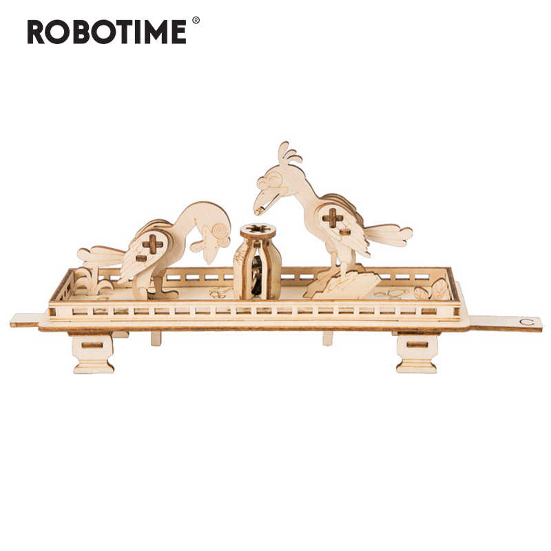 Robotime Children Adult Stress Relief Toy DIY Wooden Crows and the Pitcher Novelty Gag Toy Sports & Entertainment  LP201
