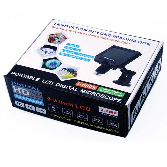 1 unidad portátil 8 LED Lupa Electrónica 1 ~ 600x microscopio electrónico 1080P HD LCD pantalla Digital soporta 1-64GB Micro SD