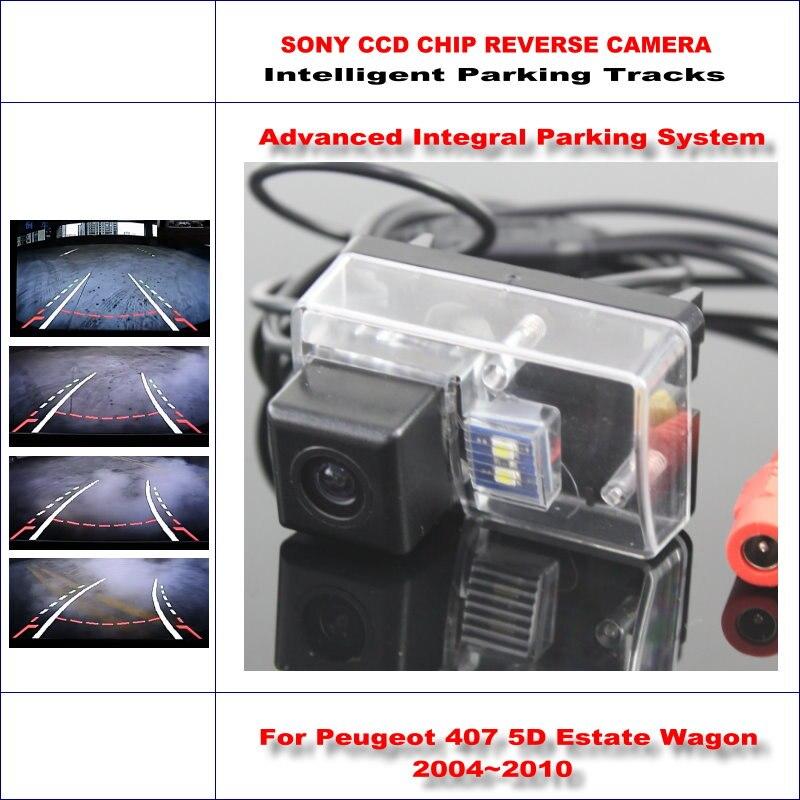 Caméra de recul intelligente pour Peugeot 407 5D break Wagon 2004 ~ 2010 vue arrière sauvegarde 580 lignes TV piste de guidage dynamique