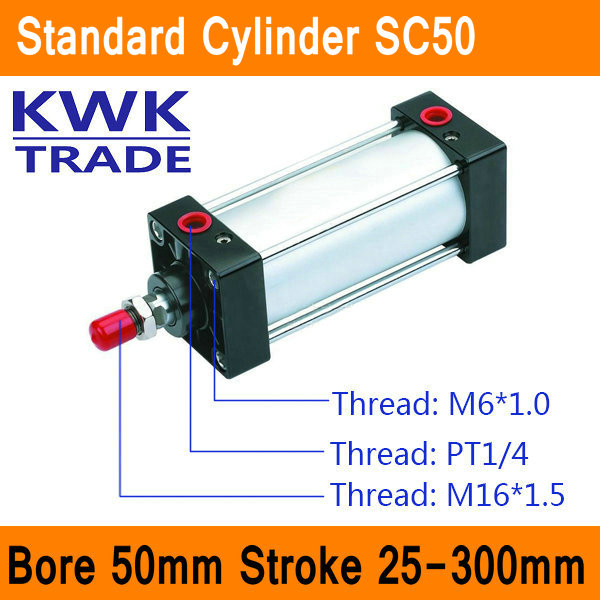 SC50 Standard Air Cylinders Valve CE ISO Bore 50mm Strock 25mm to 300mm Stroke Single Rod