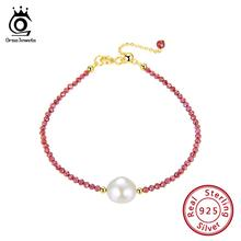 ORSA JEWELS Silver Bracelet 925 Women Natural Stone Red Garnet Freshwater Pearl Fashion Gold Color Jewelry 2019 OSB48-R