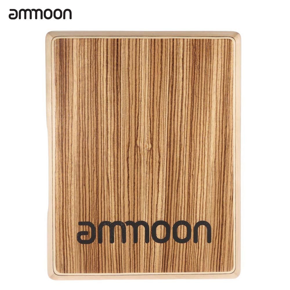 Ammoon Compact Travel Cajon Flat Hand Drum Wood Persussion