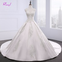 Fmogl Gorgeous Appliques Beaded Pearls A Line Wedding Dress 2018 Vintage High Neck Satin Princess Wedding