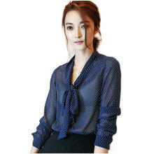 2017 Spring Women V-Neck Long Sleeve Polka Dot Print Chiffon Blouses Ladies Office Shirts With Bow Camisa Mujer