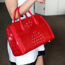 Luxury quality woman portable 2019 new casual crocodile skull leather handbags solid color animal print bag pattern