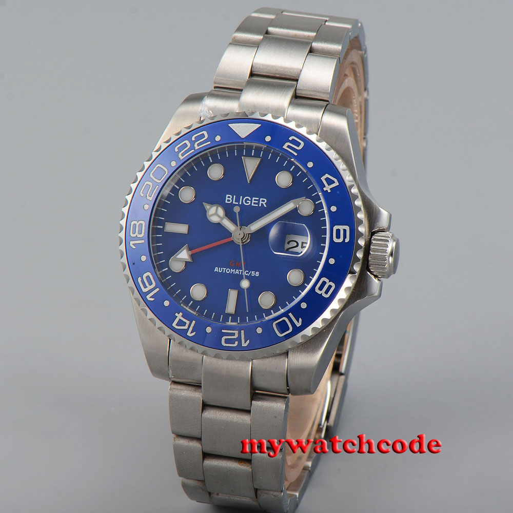 43mm bliger blue dial ceramic Bezel date sapphire glass automatic mens watch P38 цена и фото