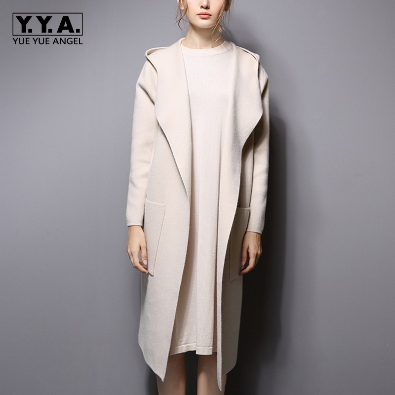 Top Quality Wool Knitted Elegant Lady Long Coat Soft Comfort Hooded Female Cardigan Casual Oversize Loose Fit Sweater For Women