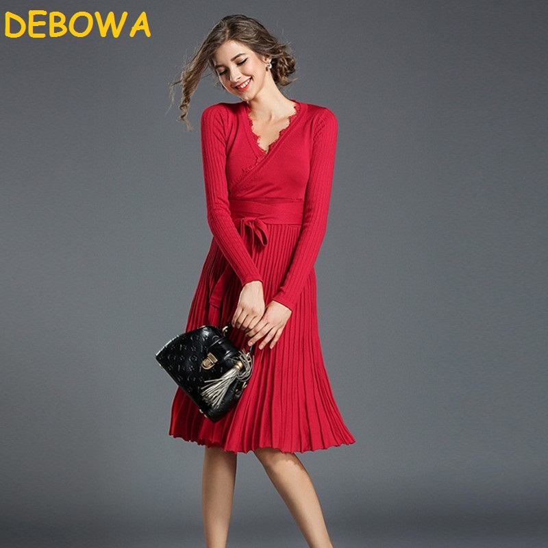 Debowa font b 2018 b font New Fashion Spring Autumn Women Dress Sexy V neck Office