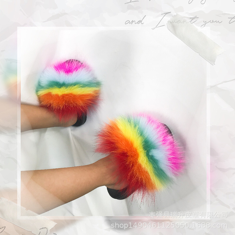 Real Fox Slippers Kids Winter Fur  Home Slides Girl Flop Flips Raccoon Fluffy Cute Flats  Beach Summer Children Boys Shoes